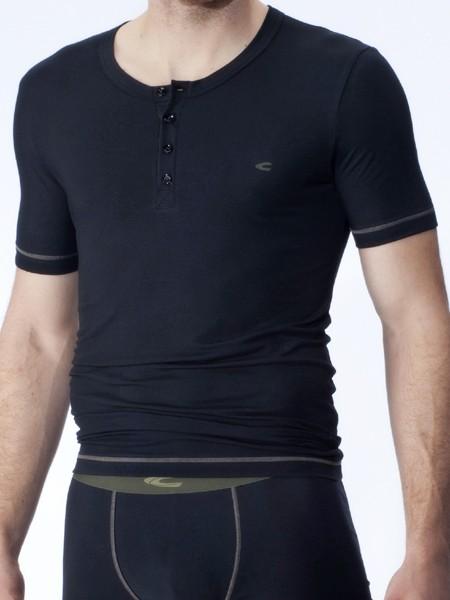 camel active Underwear 21: Buttonshirt, schwarz/olive