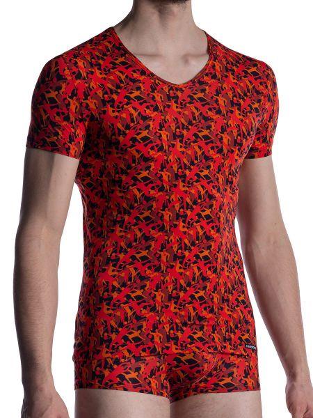 MANSTORE M2005: V-Neck-Shirt, rot/schwarz