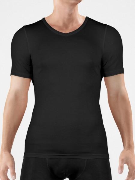 Bangert: V-Neck-Shirt, schwarz