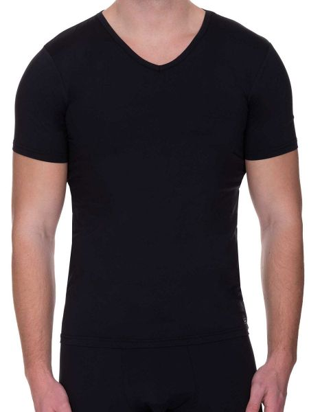 Bruno Banani Micro Feel: V-Neck-Shirt, schwarz