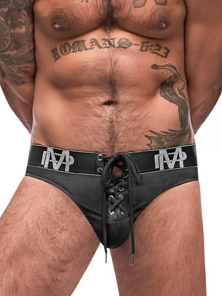 Male Power Black Ice: Lace Up String, schwarz