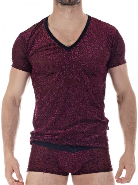 L'Homme Manta: V-Neck-Shirt, bordeaux