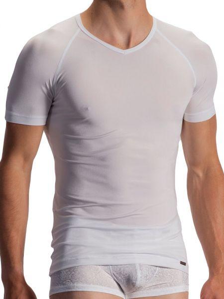 Olaf Benz PEARL1960: V-Neck-Shirt, weiß