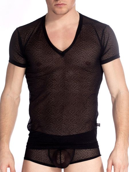 L'Homme Damien: V-Neck-Shirt, schwarz
