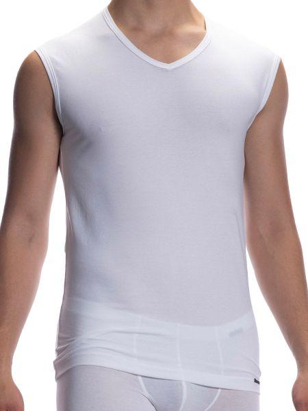 Olaf Benz RED1601: Collage V-Shirt, weiß