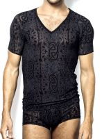 L'Homme Dévoré Tattoo: T-Shirt V-Neck, schwarz/grau
