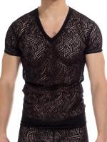L'Homme Eole: V-Neck-Shirt, schwarz