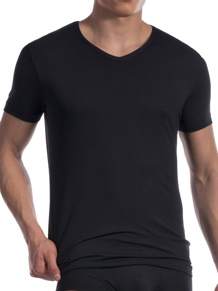 Olaf Benz RED1601: V-Neck-Shirt, schwarz