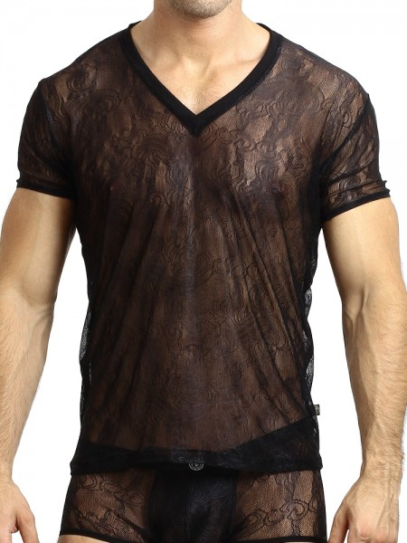 L'Homme Arabesque: V-Neck-Shirt, schwarz