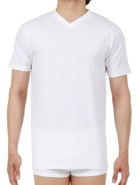 HOM Hilary: V-Neck-Shirt, weiß