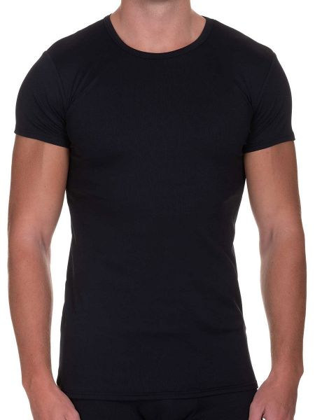 Bruno Banani Rib Made: T-Shirt, schwarz