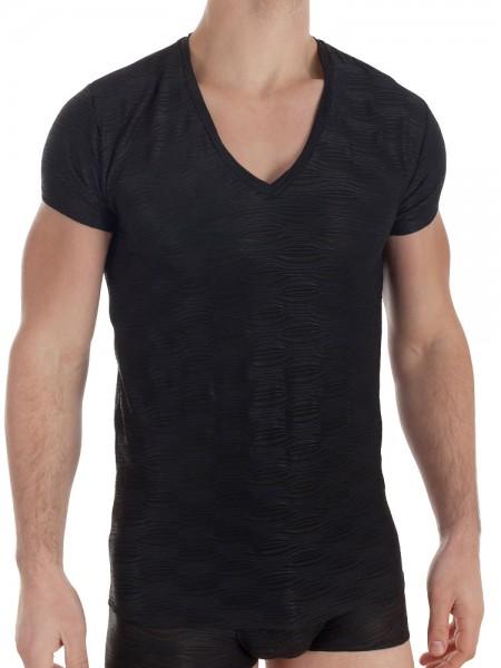 L'Homme Plissé: V-Neck-Shirt, schwarz