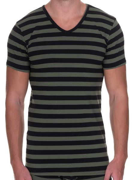 Bruno Banani Sailor: V-Neck-Shirt, oliv/schwarz