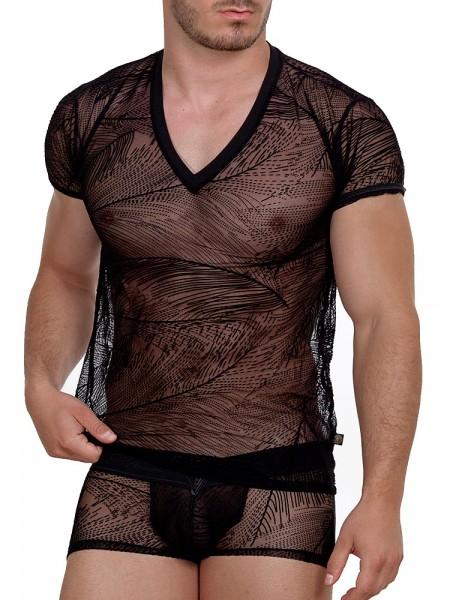 L'Homme Drifter: V-Neck-Shirt, schwarz