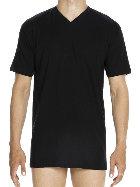 HOM Hilary: V-Neck-Shirt, schwarz