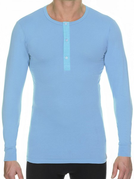 Bruno Banani Cotton Coloured: Button Long Shirt, azur