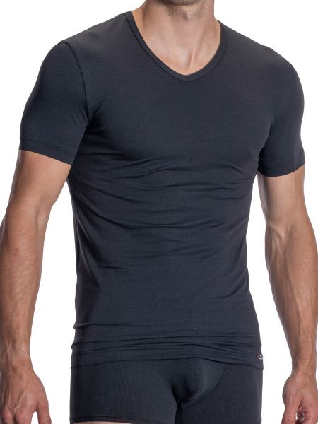 Olaf Benz RED1977: V-Neck-Shirt, dark grey