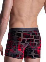 MANSTORE M2102: Hip Boxer, schwarz/rot