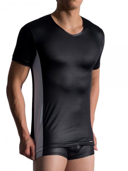 MANSTORE M758: V-Neck-Shirt, schwarz/weiß