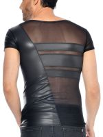 Patrice Catanzaro Benjen: Netz-Wetlook-Shirt, schwarz