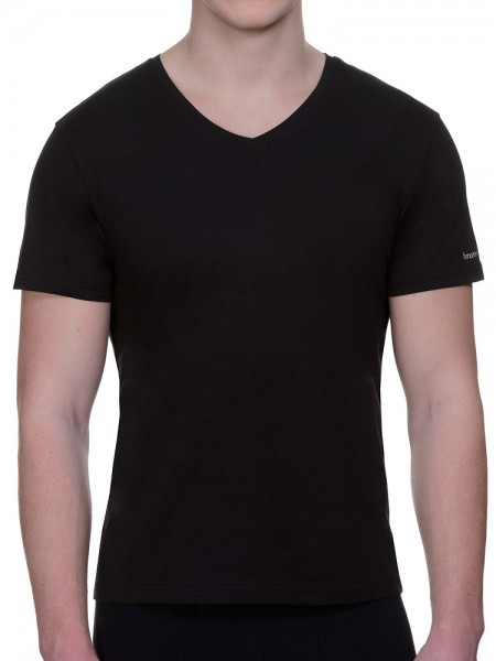 Bruno Banani Pure Cotton: V-Neck-Shirt 2er Pack, schwarz