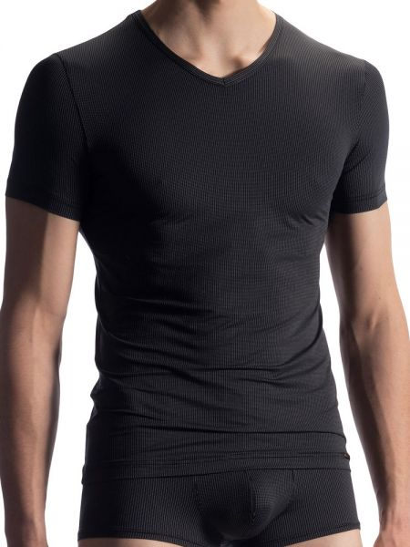 Olaf Benz RED1902: V-Neck-Shirt, schwarz