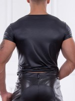 Patrice Catanzaro Lino: Wetlook-Shirt, schwarz