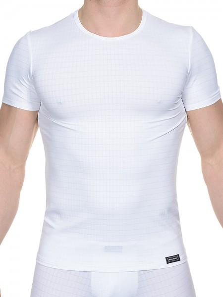 Bruno Banani Check Line: T-Shirt, weiß