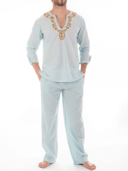 L'Homme Nightwear: Kassapa Pyjama, hellblau