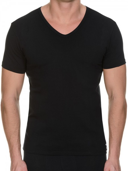 Bruno Banani Cotton Simply: V-Neck-Shirt 2er Pack, schwarz