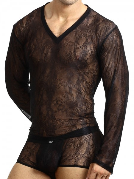L'Homme Arabesque: Longshirt, schwarz