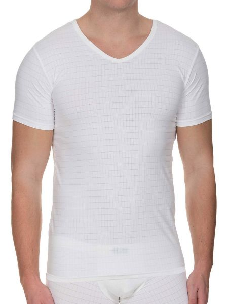 Bruno Banani Check Line 2.0: V-Neck-Shirt, weiß