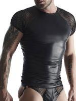 Regnes Fetish Planet TSH007: Wetlook-T-Shirt mit Netzeinsatz, schwarz