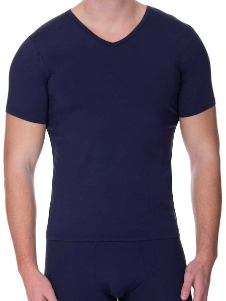 Bruno Banani Micro Feel: V-Neck-Shirt, marine