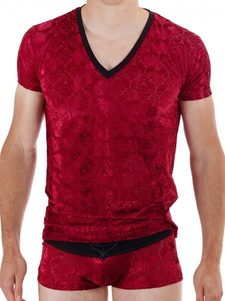 L'Homme Tosca: V-Neck-Shirt, rot