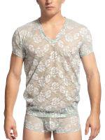 L'Homme Constantin: V-Neck-Shirt, lindgrün/rosa