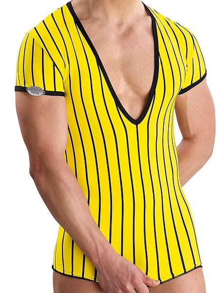 Eros Veneziani Diego: V-Neck-Shirt, gelb/schwarz