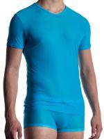 MANSTORE M2056: V-Neck-Shirt, azur
