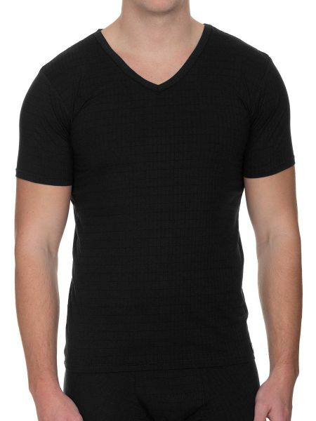 Bruno Banani Check Line 2.0: V-Neck-Shirt, schwarz