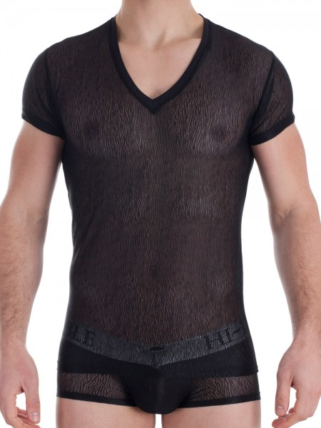 L'Homme Illusions: V-Neck-Shirt, schwarz