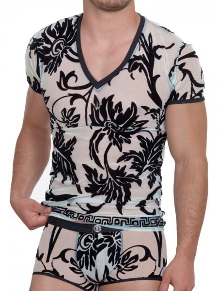 L'Homme Velours et Luxour: V-Neck-Shirt, hellblau/schwarz