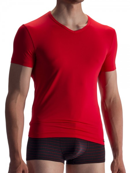 Olaf Benz RED1859: V-Neck-Shirt, rot