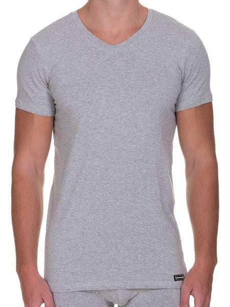 Bruno Banani Infinity: V-Neck-Shirt, graumelange