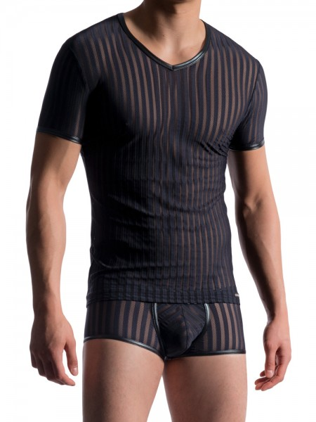 MANSTORE M712: V-Neck-Shirt, schwarz