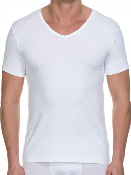 Bruno Banani Cotton Simply: V-Neck-Shirt 2er Pack, weiß