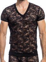 L'Homme Esteve: T-Shirt V-Neck, schwarz