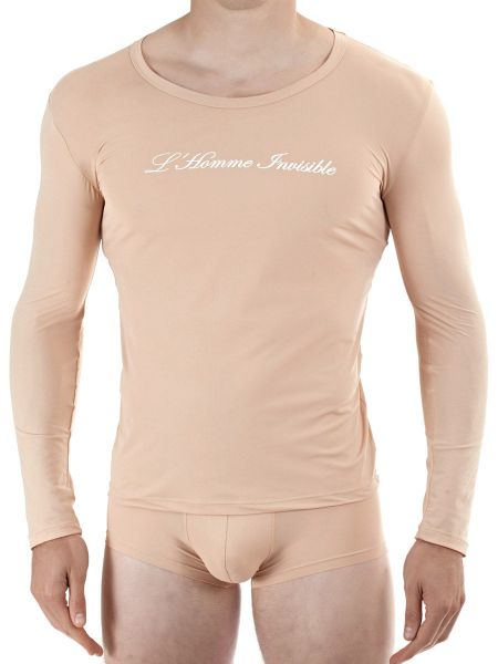 L'Homme Sensitive: Longshirt U-Neck, nude