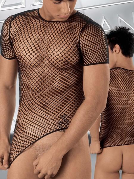 Eros Veneziani Leonardo: Netzshirt, schwarz