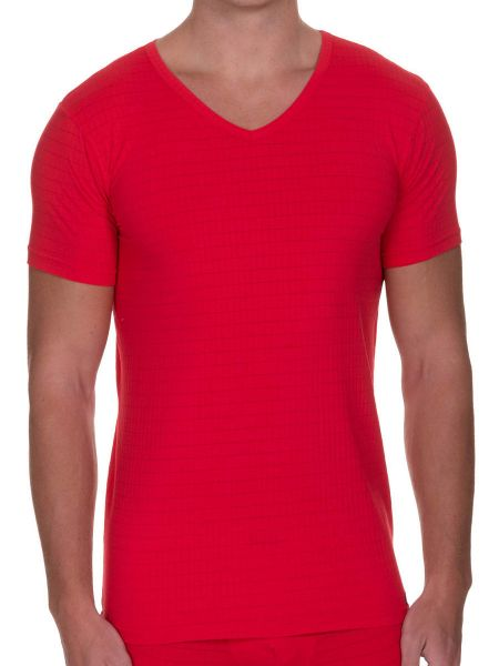Bruno Banani Check Line 2.0: V-Neck-Shirt, rot