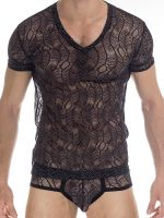 L'Homme Anton: V-Neck-Shirt, schwarz